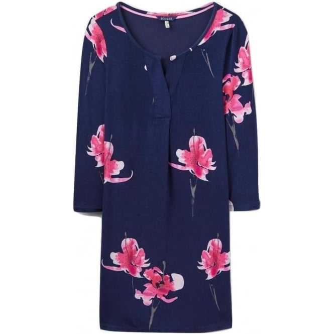 Joules Womens Kimberley Notch Neck Tunic in French Navy Orchid