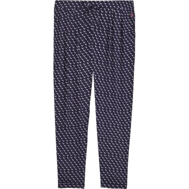 Joules Womens Anice Woven Print Trouser in French Navy Oyster