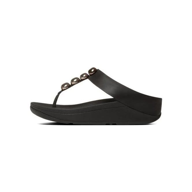 d2e72430d444c6 Fitflop Womens Leather Toe-Thong Rola Sandal in Black