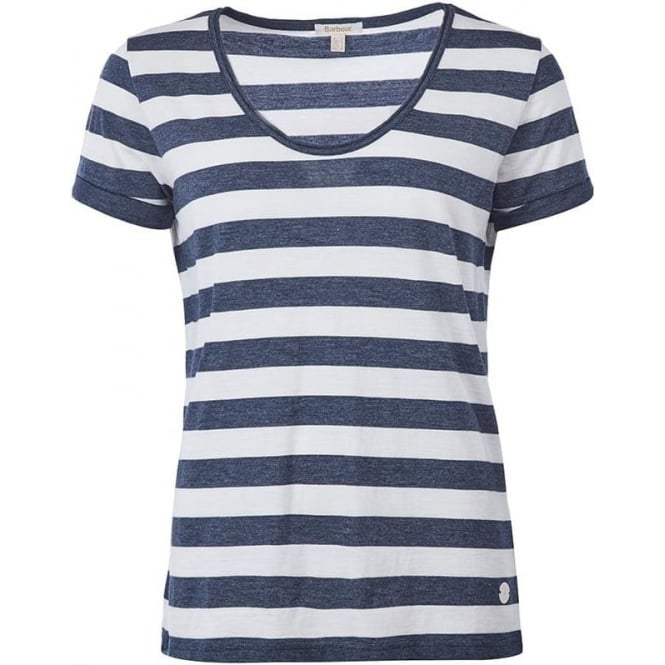 Barbour Womens Trytone Striped Top in Cloud/Dark Grey