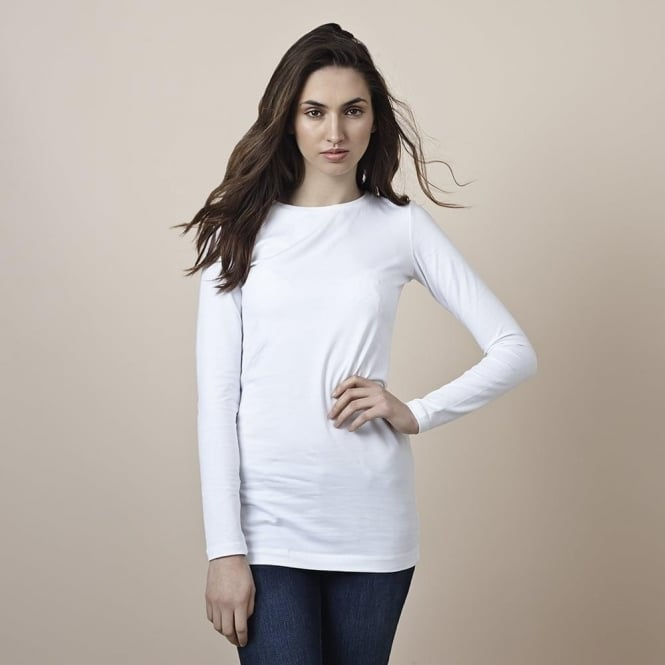 Cove Womens Long Layering Tee in White