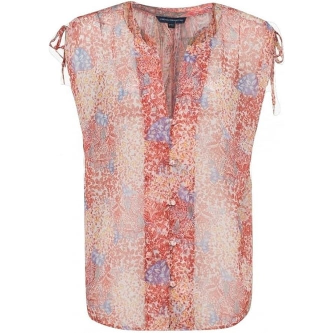 French Connection Womens Malika Sheer Paisley Top in Apricot Multi