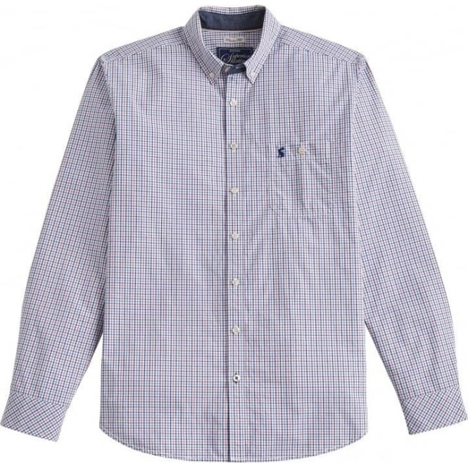 Joules Mens Hewney Shirt in Chalk Mini Check