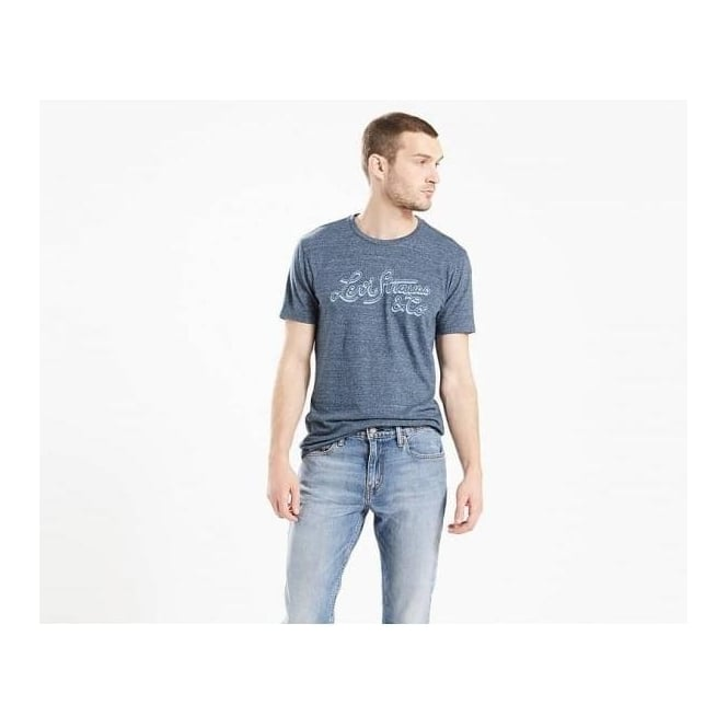 Levi's Mens Wordmark Graphic Tee in Shadow Dress Blues Tri Blend