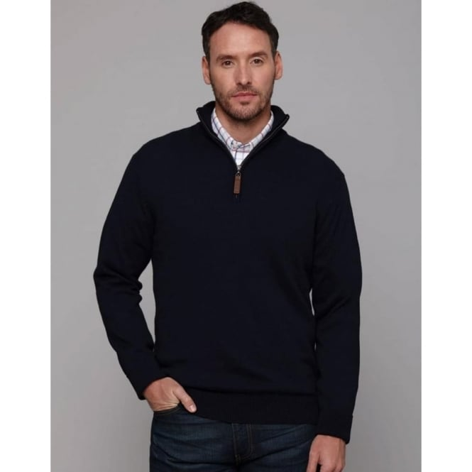 Schoffel Mens Cotton Cashmere 1/4 Zip Jumper in Navy Blue