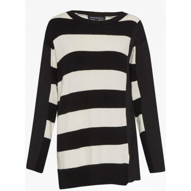 2d079ca97dc Womens Ollie Stripe Knit Long Sleeve Crew in Black White