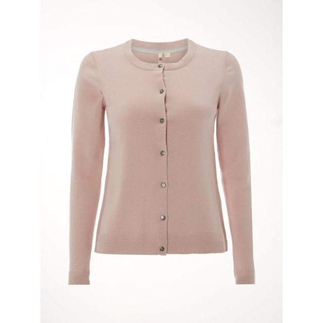 White Stuff Womens Forest Crew Cardi in Ditsy Pink Plain