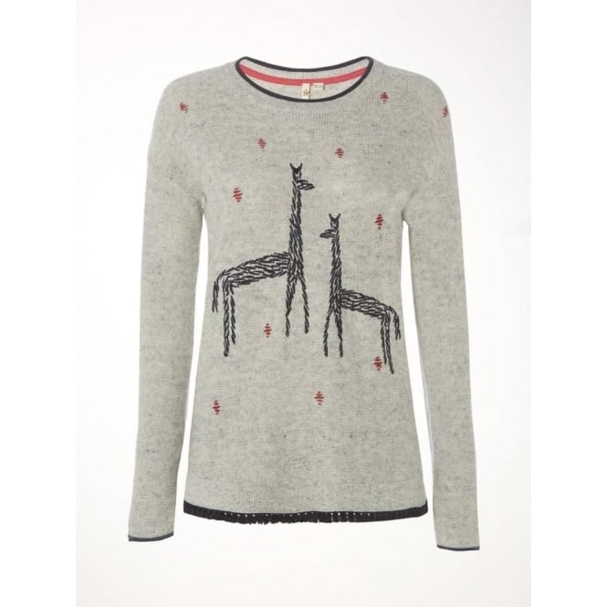 White Stuff Womens Canter Embroidered Jumper in Metallic Grey Plain