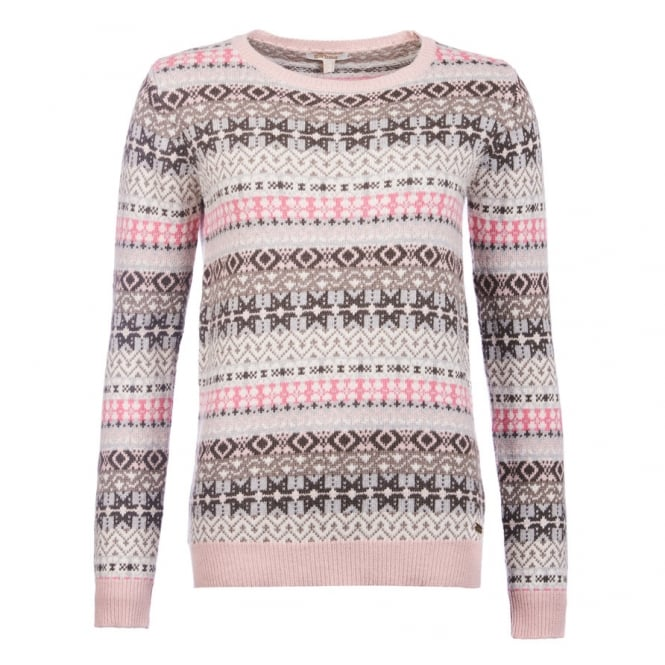 Barbour Womens Tarn Fairisle Crew Neck Sweater in Oatmeal
