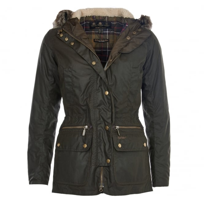 Barbour Womens Kelsall Wax Parka in Olive