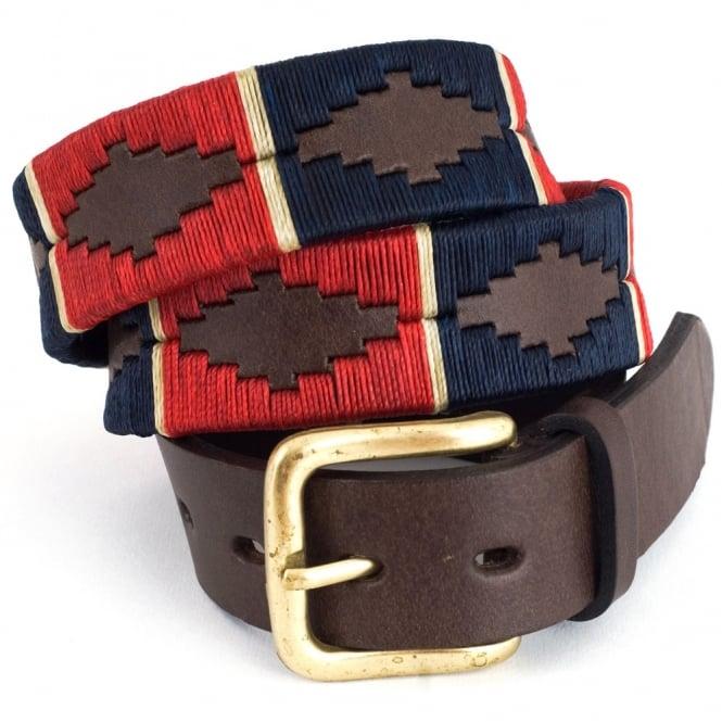 Pioneros Polo Belt in Red/Navy/Cream Stripe