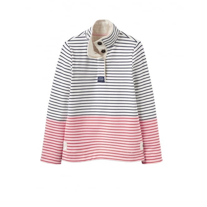 Joules Womens Cowdray Classic Funnel Neck Sweatshirt in Cream Red Stripe