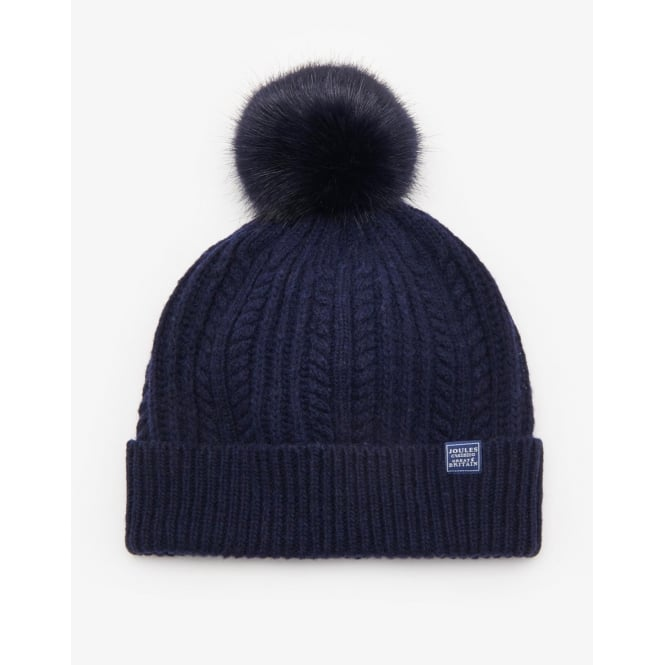 Joules Womens Knitted Bobble Hat in Navy 82dcf771cb6