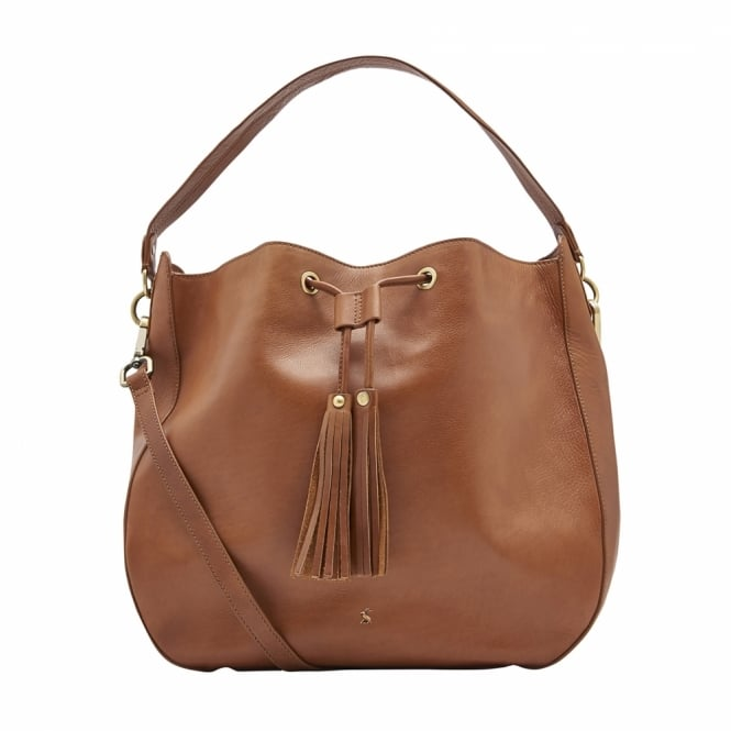 Joules Womens Beau Leather Shoulder Bag in Chestnut