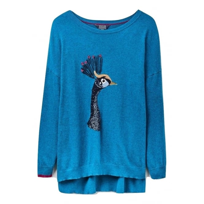 Joules Womens Meryl Luxe Dropped Shoulder Intarsia Jumper in Teal Peacock
