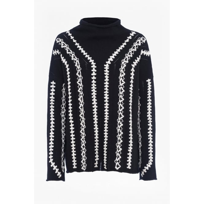 French Connection Ella Embroidered Wool Blend Jumper in Black/White