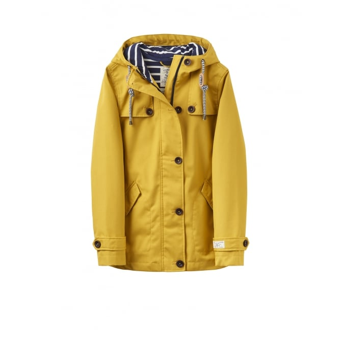 Joules Womens Coast Waterproof Hooded Jacket in Antique Gold