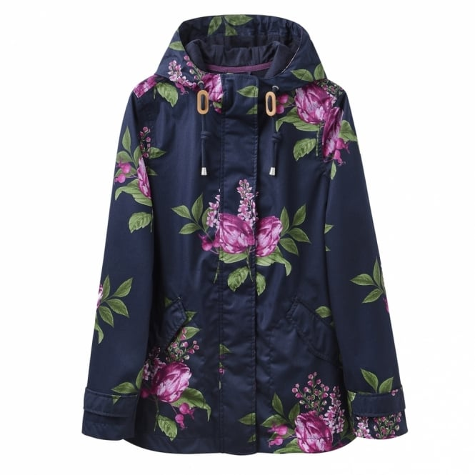 Joules Womens Coast Print Waterproof Jacket in Marine Navy Artichoke Floral