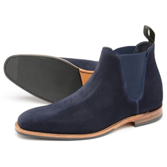 5484354915f Loake Mens Caine Chelsea Boot in Navy Suede