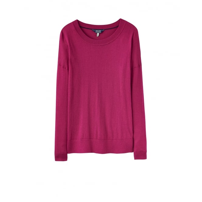 Joules Womens Sally Crew Neck Knitted Jumper in Ruby