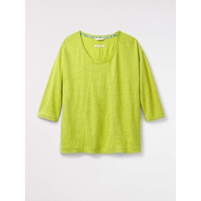 White Stuff Womens Highline Linen Jersey Tee in Citron Green Plain
