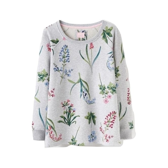 Joules Womens Aylesham Printed Crew Neck Sweat in Grey Marl Botanical