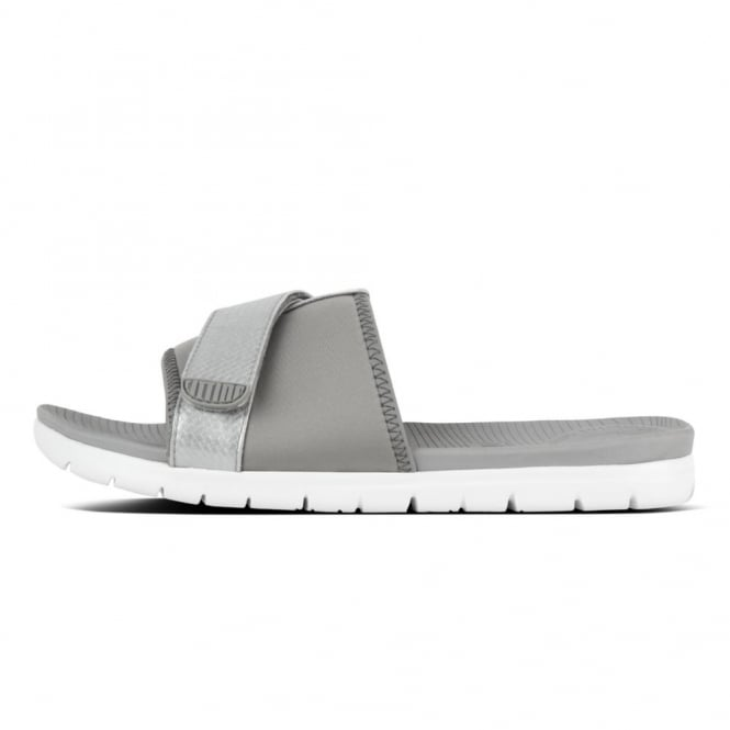 2cb67a064 Fitflop Neoflex Slide Sandals in Soft Grey Silver