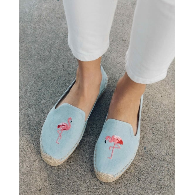 a017d5189a9 Soludos Womens Flamingo Platform Smoking Slipper in Chambray
