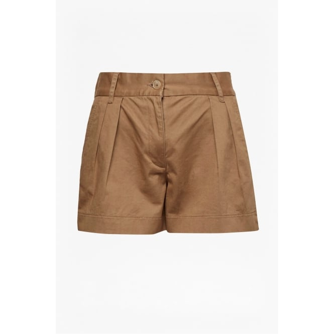 French Connection Womens Collman Cotton Pleat Front Shorts in Warm Sand