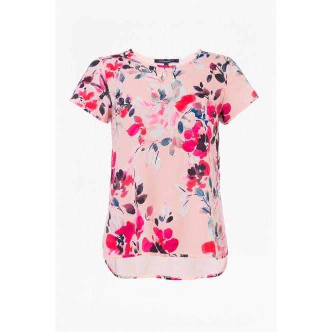 French Connection Womens Linosa Crepe Top in Barley Pink