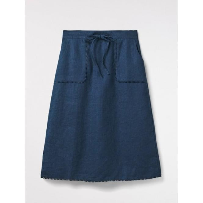 77c3489bf464 White Stuff Portia Plain Linen Skirt in Enso Blue Plain|Parkinsons ...