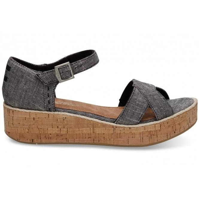 99f6c50be1d6 Toms Womens Harper Wedge Sandal in Black Textured Chambray ...
