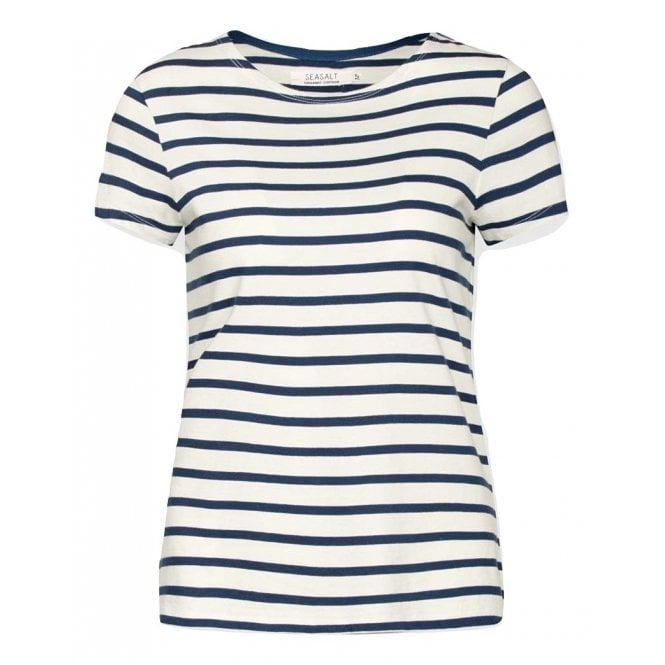 73144804 Seasalt Womens Sailor T-shirt in Breton Ecru Night|Parkinsons Lifestyle