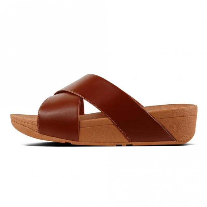 f55f040a05c77b Fitflop Lulu Cross Slide Leather Sandal in Caramel