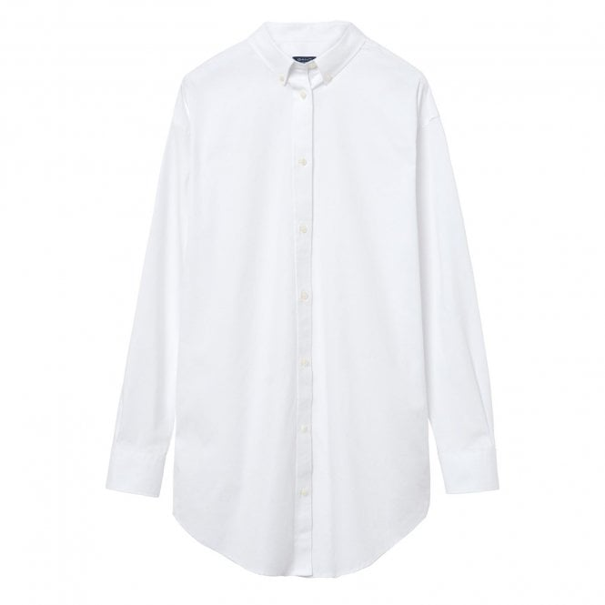 56582545531486 Gant Womens Pinpoint Oxford Long Shirt in White|Parkinsons Lifestyle