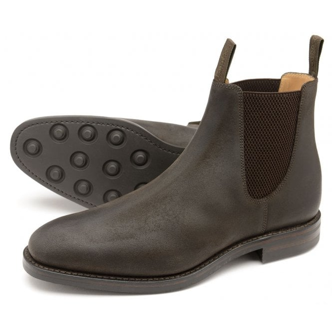 d8a8fa3fa30df Loake Mens Chatsworth Waxed Suede Chelsea Boot in Dark Brown ...