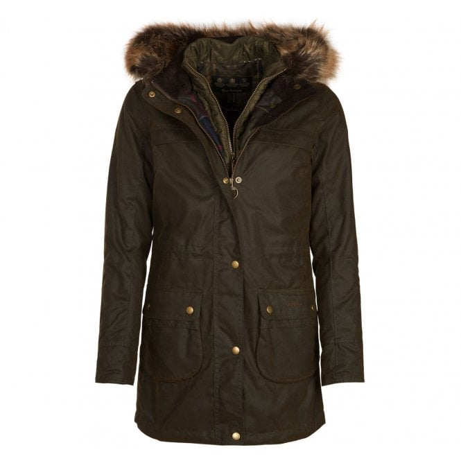 9a68cdd62f5 Womens Dartford Waxed Cotton Parka Jacket in Olive