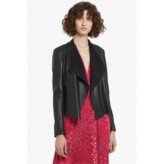 9bf85c311 Womens Stephanie Faux Leather Waterfall Jacket in Black