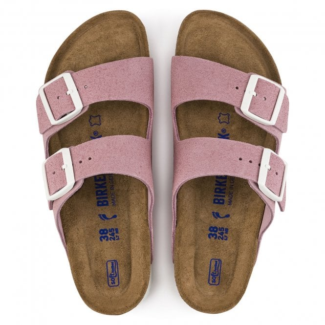 Birkenstock Womens Arizona Soft Footbed in Rose Suede Narrow Fit