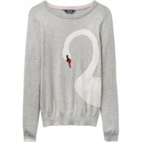 Womens Miranda Intarsia Jumper in Soft Grey Swan