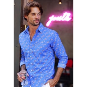 Mens Blue, Blue, Electric Blue Shirt in Blue