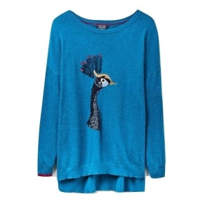 Womens Meryl Luxe Dropped Shoulder Intarsia Jumper in Teal Peacock