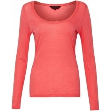 Womens Featherweight Jersey Top in Lipstick Pink