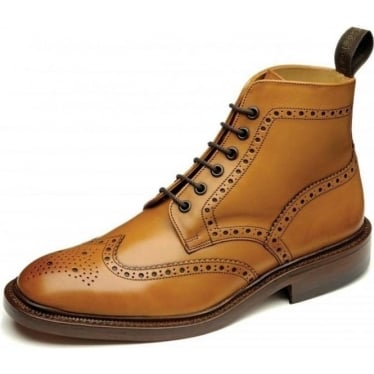 Burford 2 Mens Brogue Boot in Tan