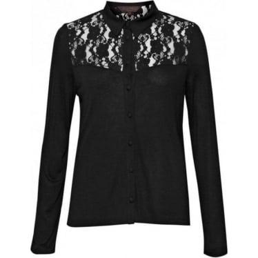 Womens Emerson Lace Shirt in Black