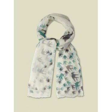 Womens Flock Of Birds Scarf in Off White
