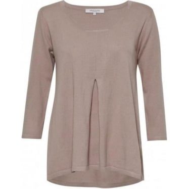 Daria Knit Pleat Front Top in Sparrow Beige