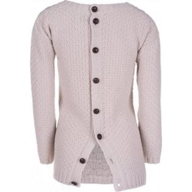 Womens Button Back Jumper in Dirty White