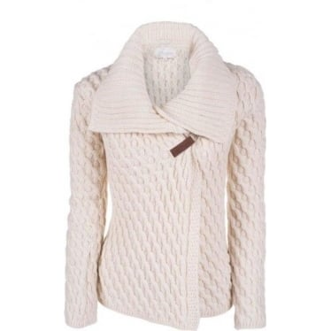 Womens Cross Over Cardigan in Ecru