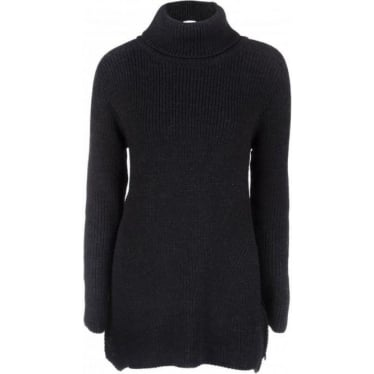 Womens Chunky Roll Neck Knit in Charcoal